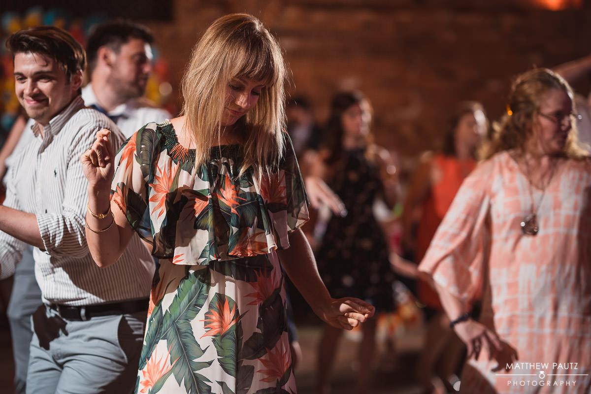 guest dancing at wedding reception at the old cigar warehouse