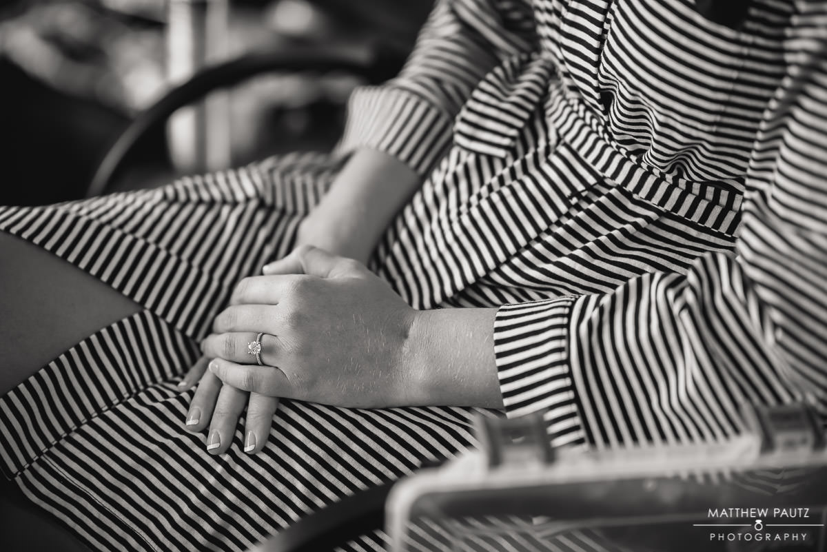 closeup of bride's wedding ring on finger
