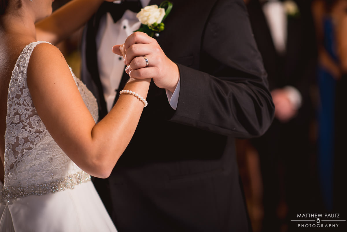 Closeup of couple's first dance
