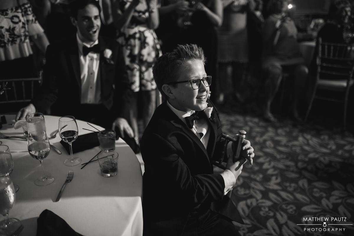 child's reaction to wedding speeches