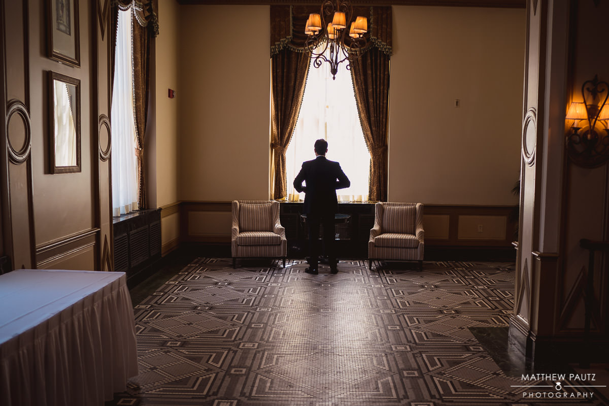 Groom waiting for bride before wedding ceremony