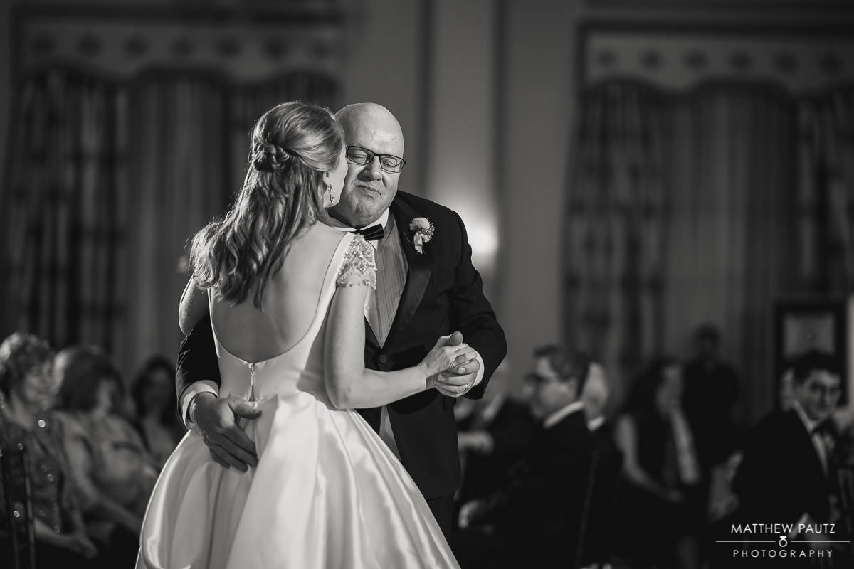 Bride dancing with her father on her wedding day