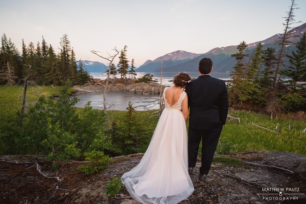 Bride and groom enjoying the view at Bird Point wedding