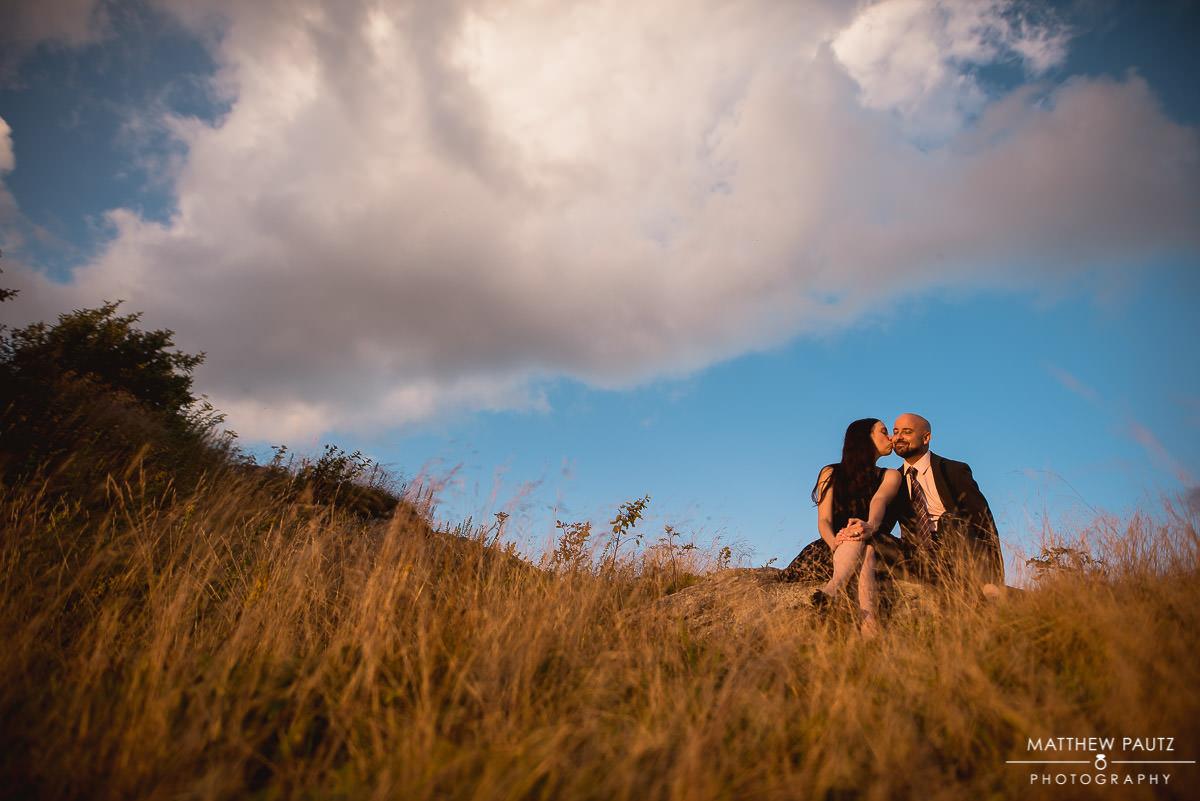 sunset mountain engagement photo