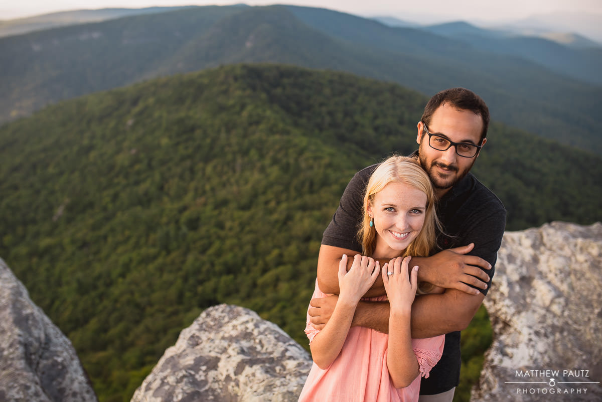 Blue Ridge Parkway engagement photos at Hawksbill Mountain