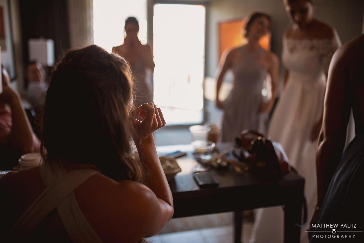 bridesmaids before wedding ceremony