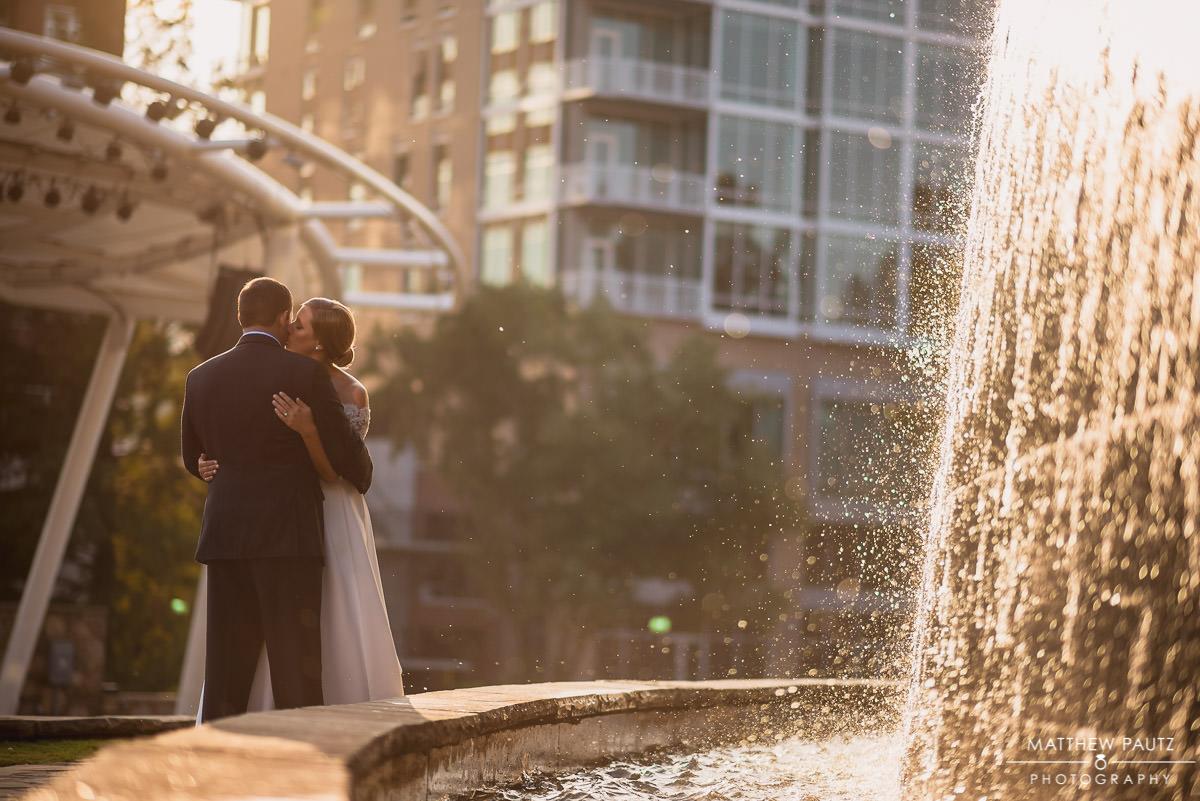 newlywed couple's photos at sunset