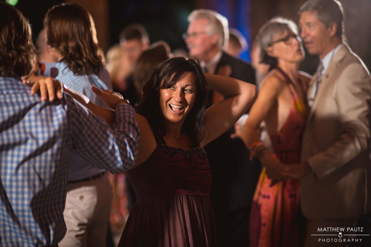 Wedding guests dancing at wyche pavilion reception