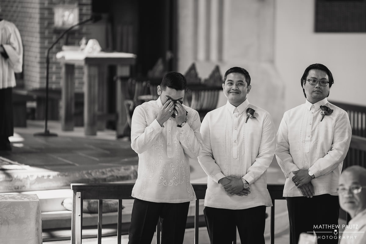 groom crying when seeing bride for the first time