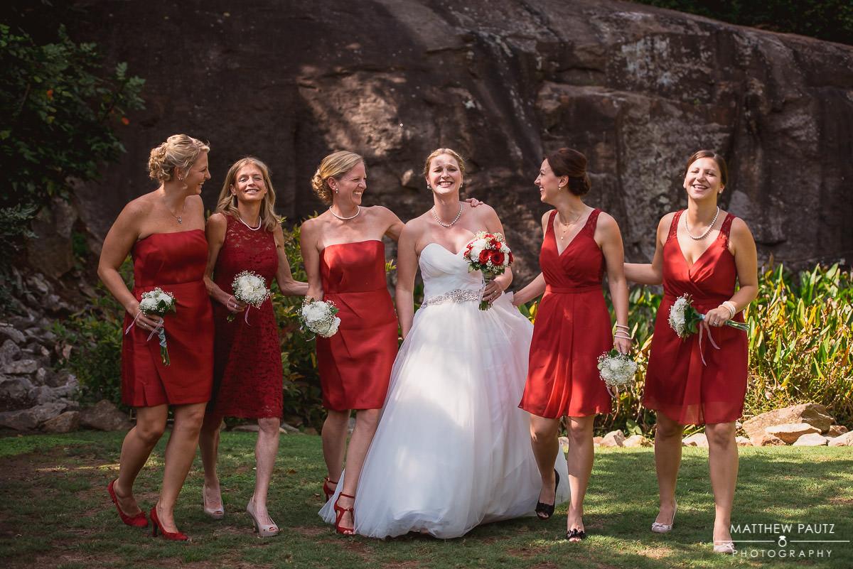 bridesmaids photos at The Rock Quarry Garden, Greenville SC