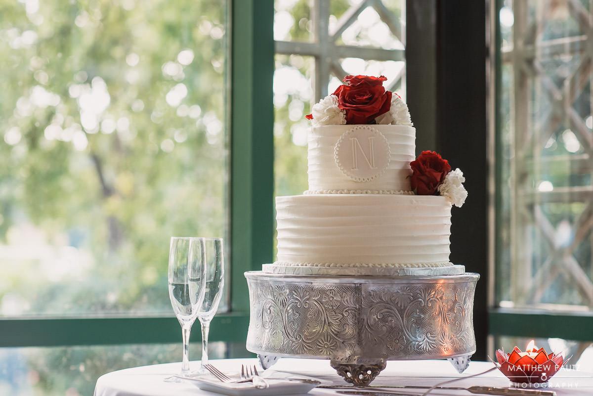 Wedding cake sitting at reception