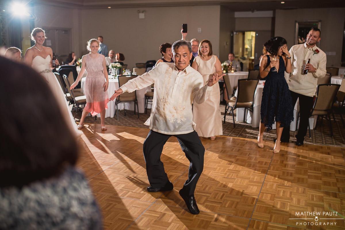 lone reception guests dancing on dance floor