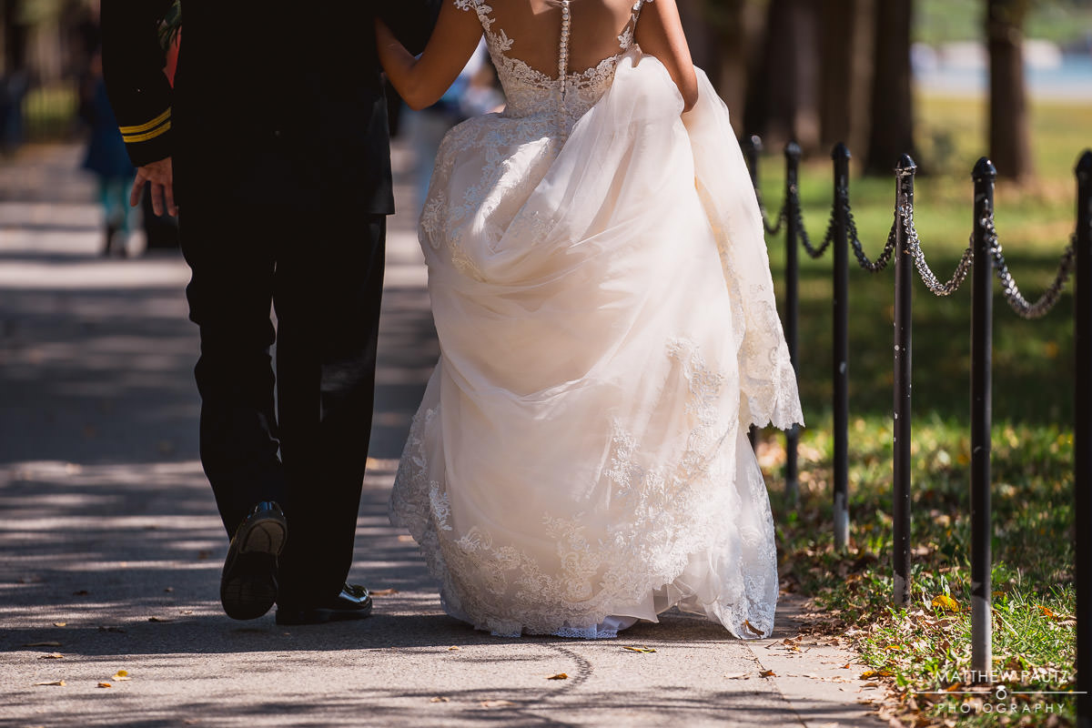 Bride and groom walking in downtown Washington DC