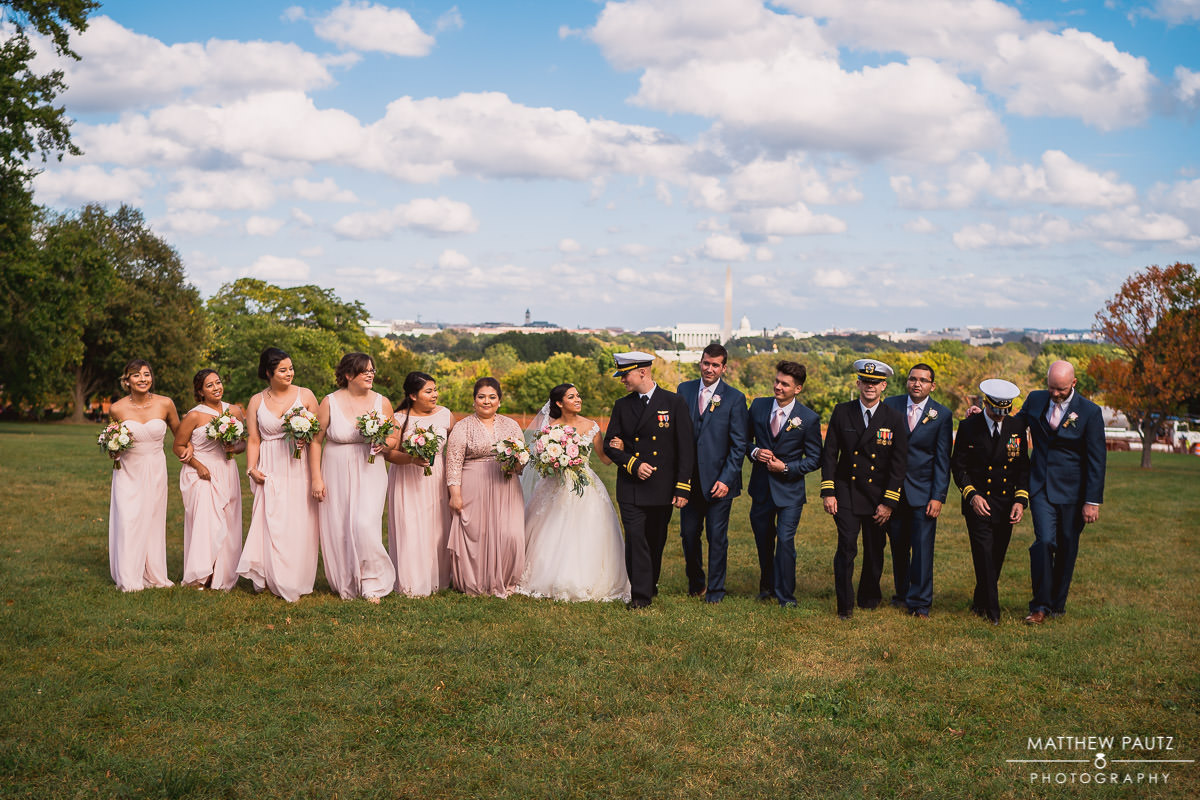 wedding party group photo in Washington DC