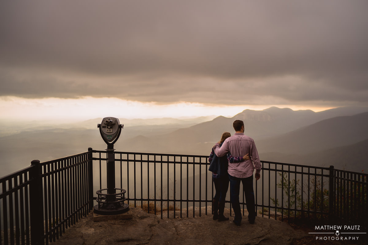engaged couple at caesar's head state park overlook