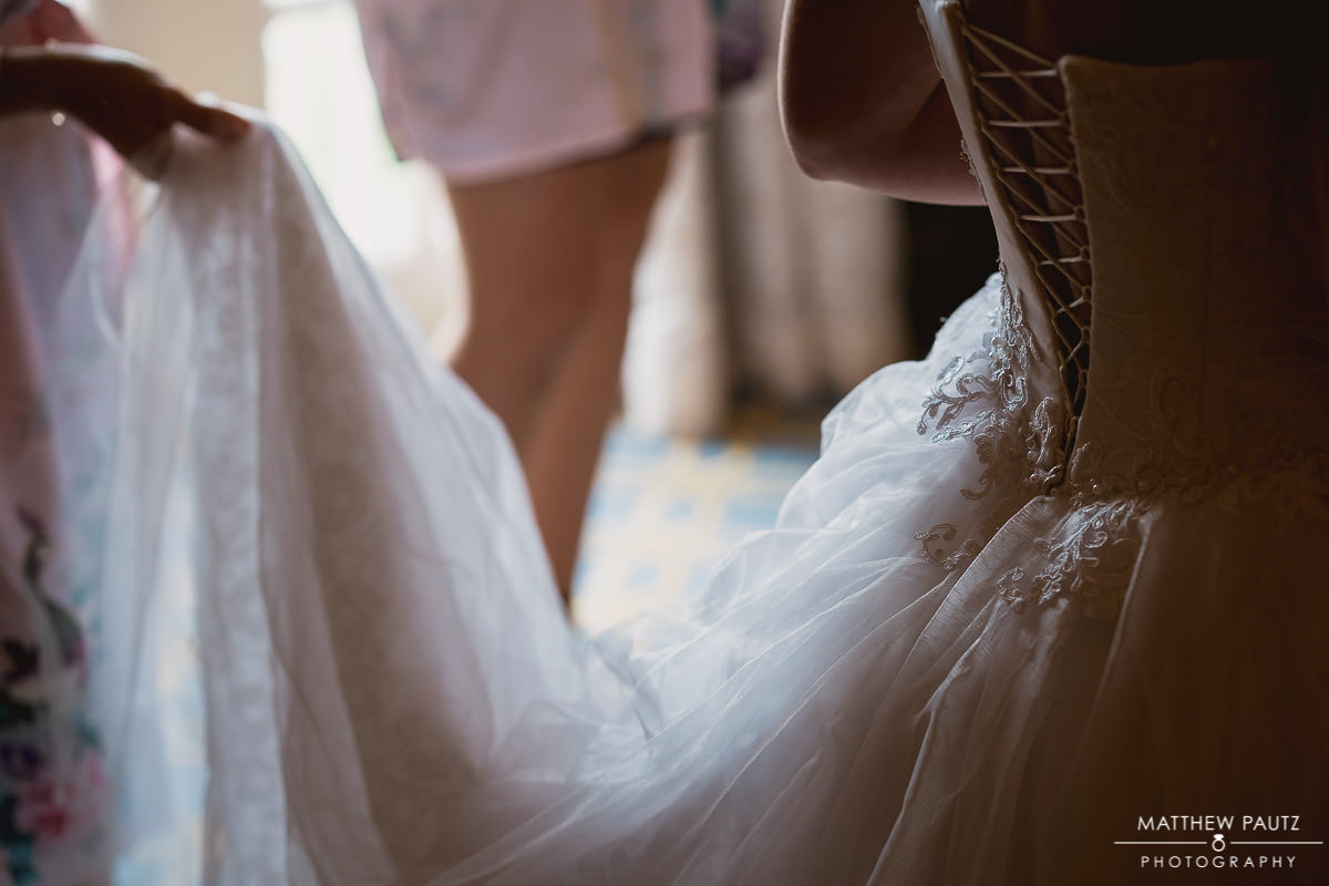 closeup of wedding dress details