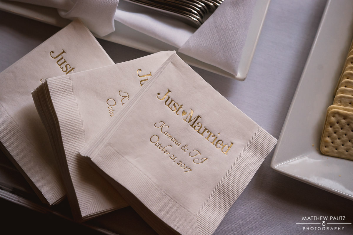 closeup of wedding napkins