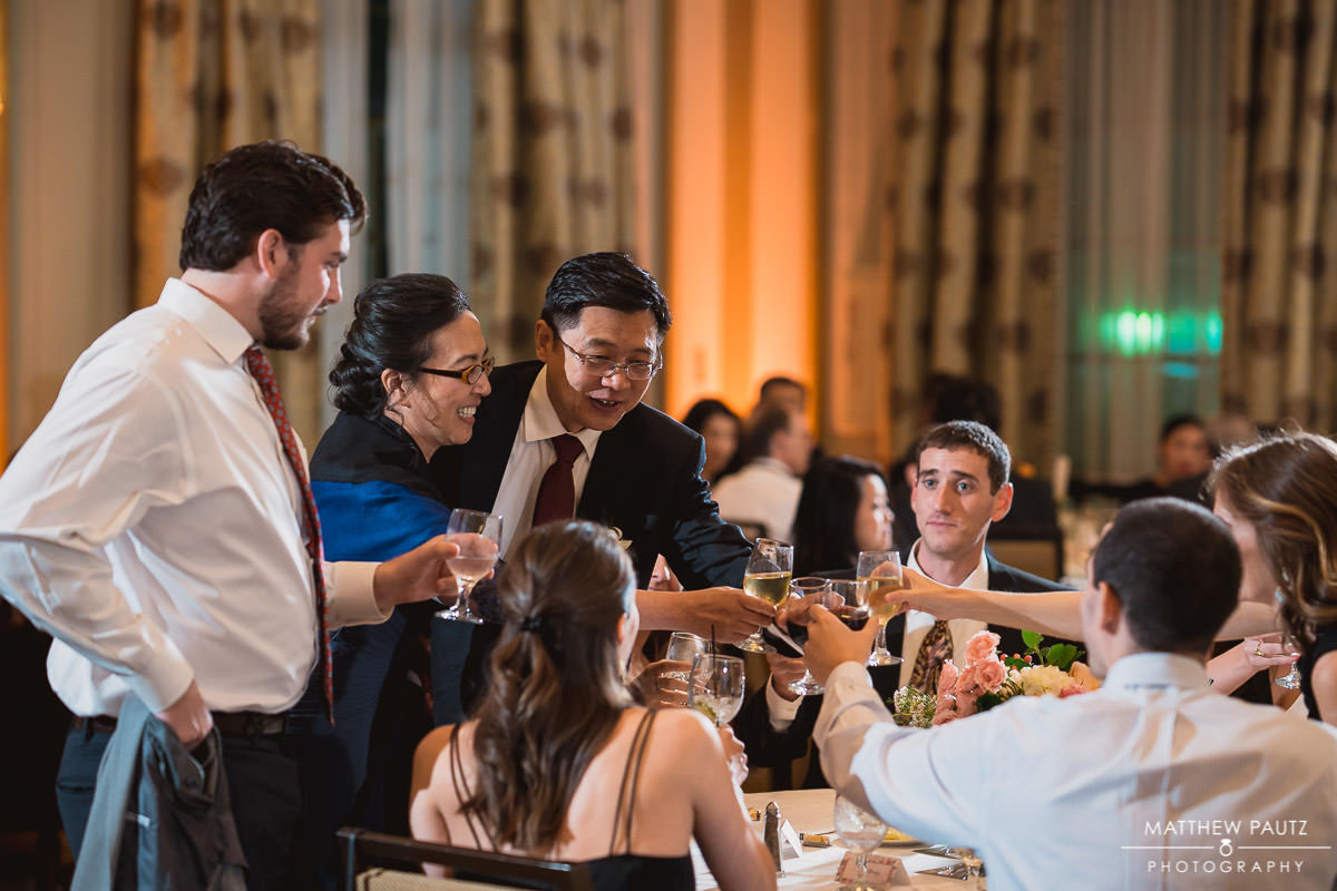 table toasts at wedding reception
