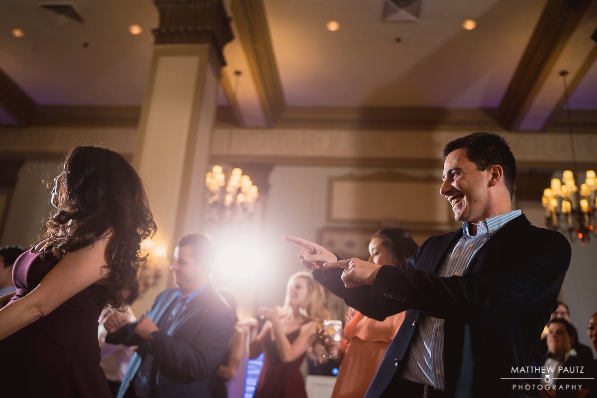wedding guests dancing at poinsett hotel