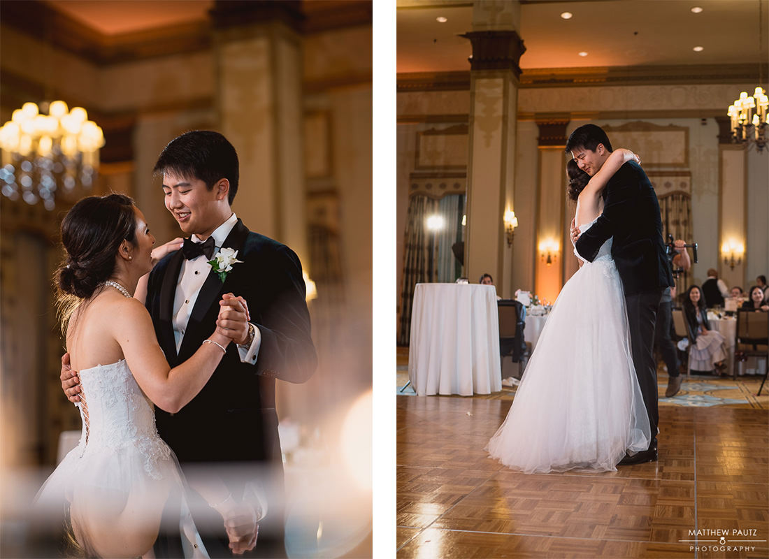 bride and groom's first dance at poinsett hotel reception