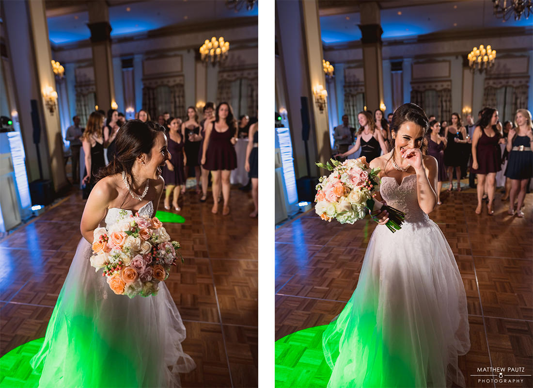 bride tossing her bouquet at reception