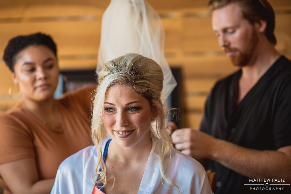 bride having veil put in