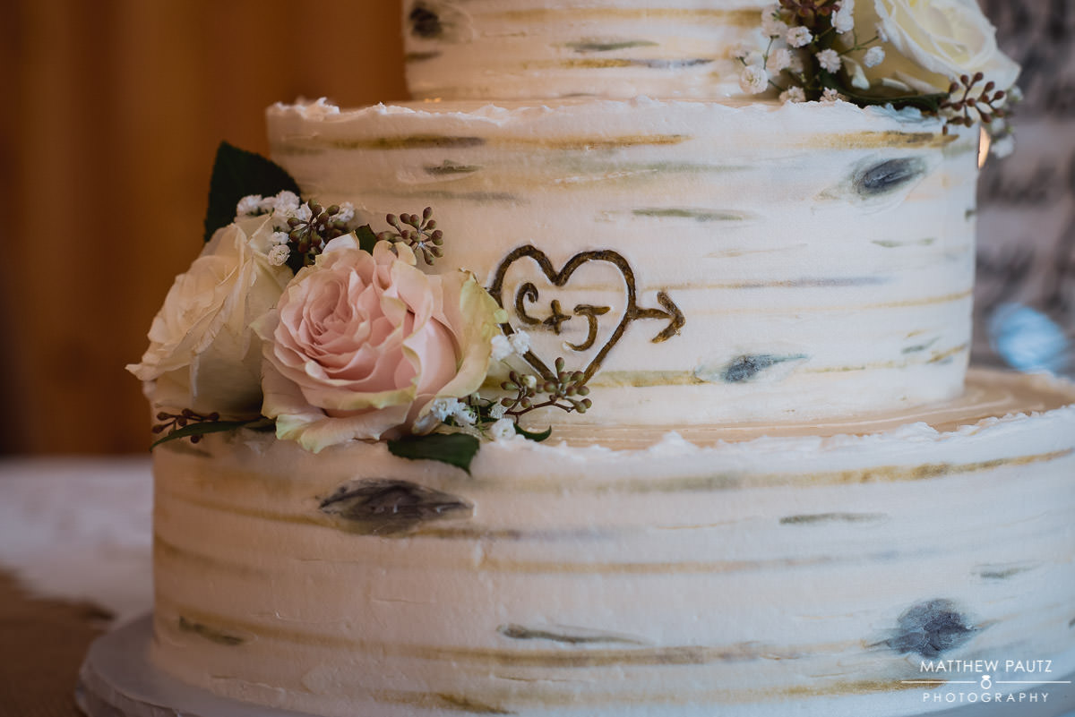 closeup of personalized wedding cake