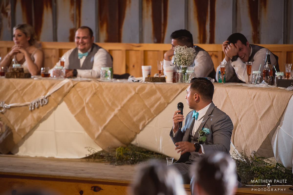 best man delivers funny speech at wedding reception