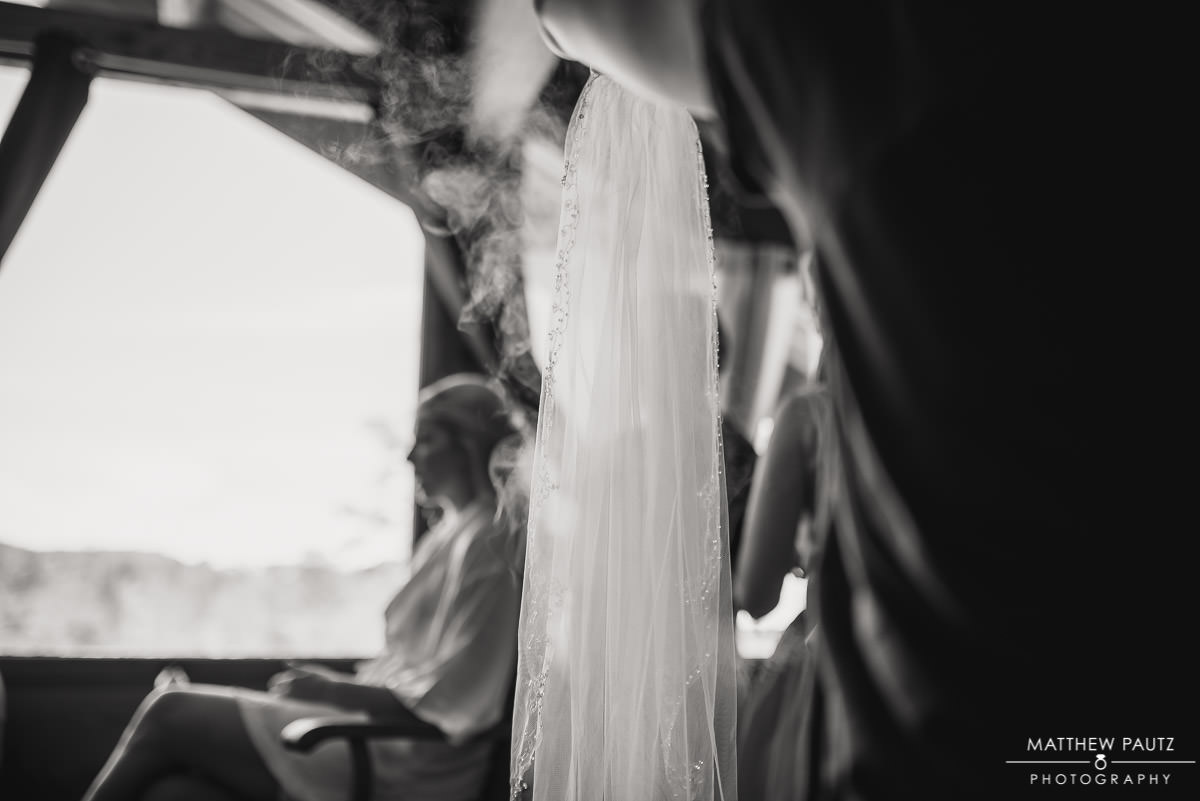 steaming the bride's veil before wedding