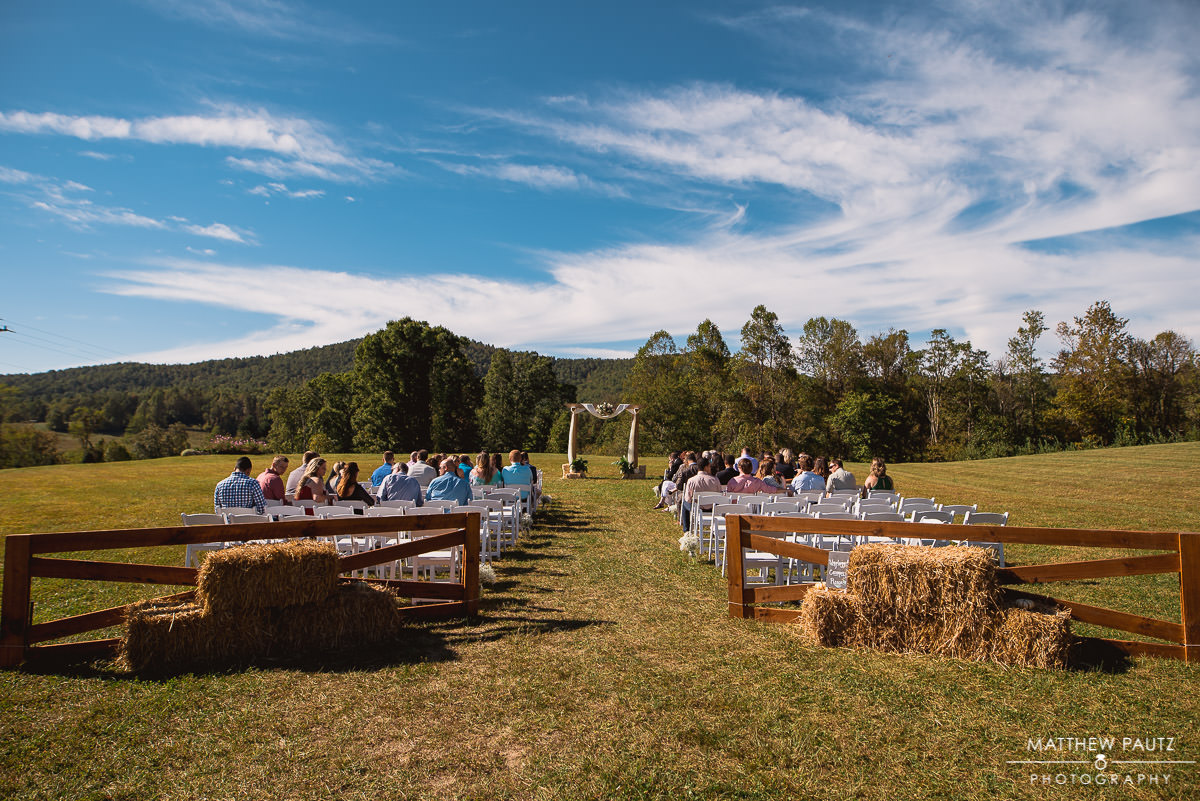 wedding ceremony at jeter mountain farm