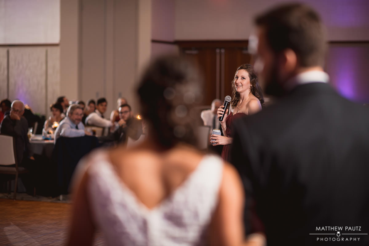 maid of honor giving reception toast