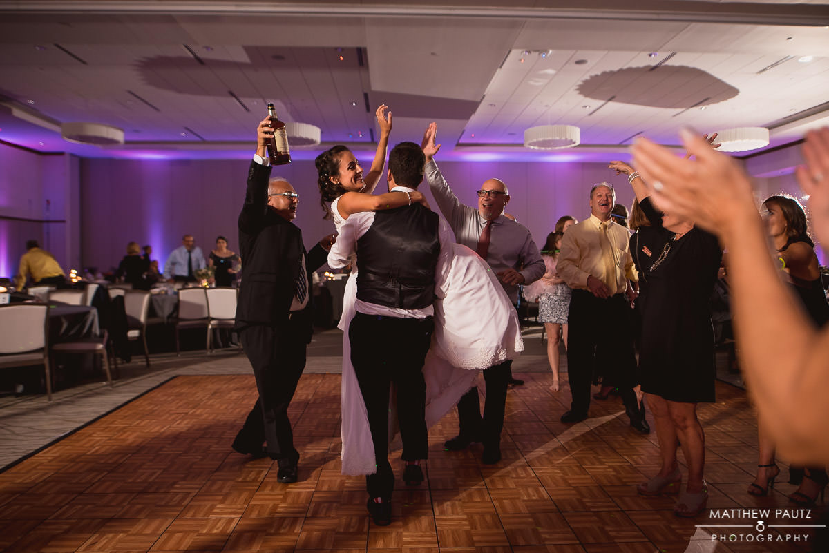 bride having fun at wedding reception