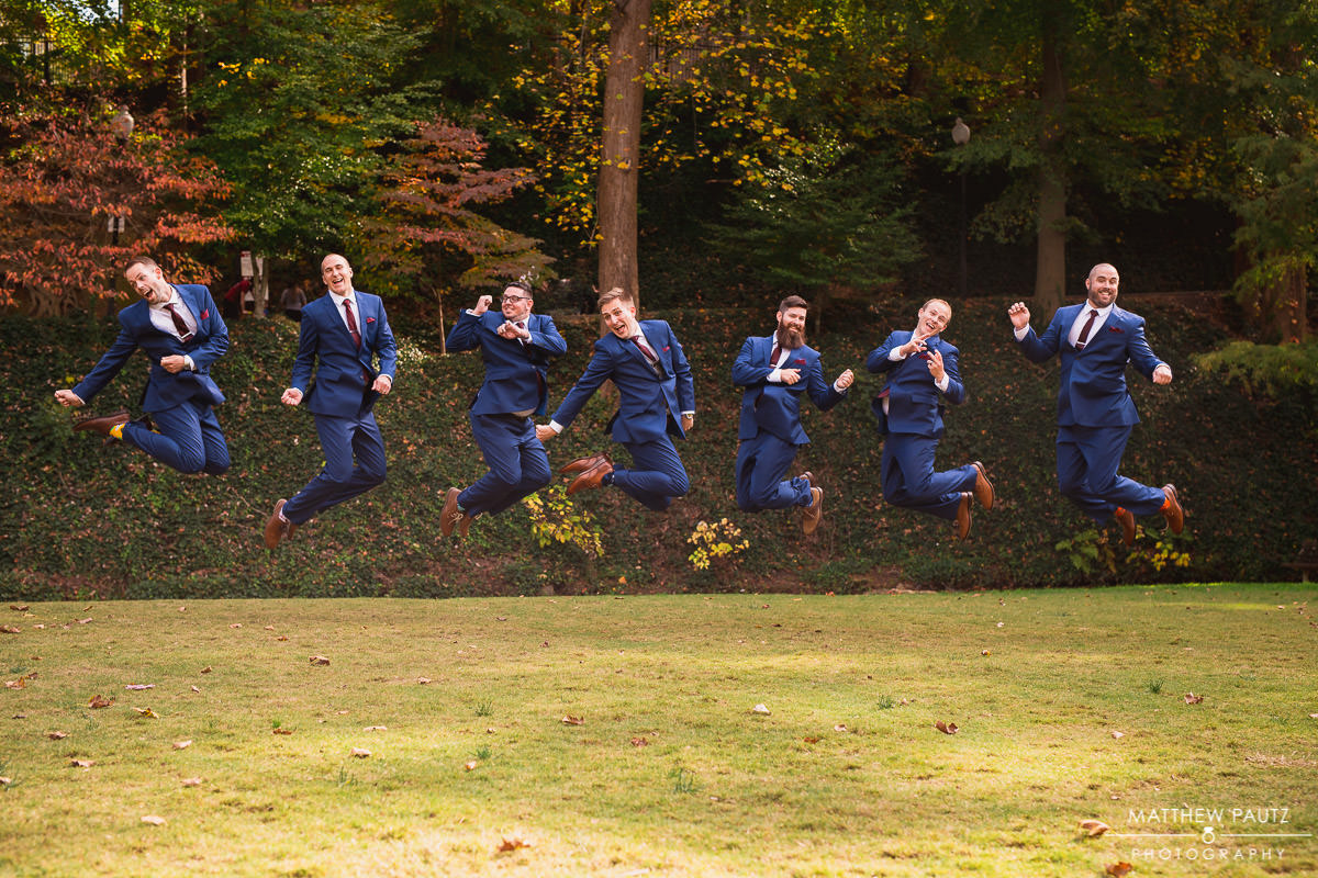 Groomsmen jumping together