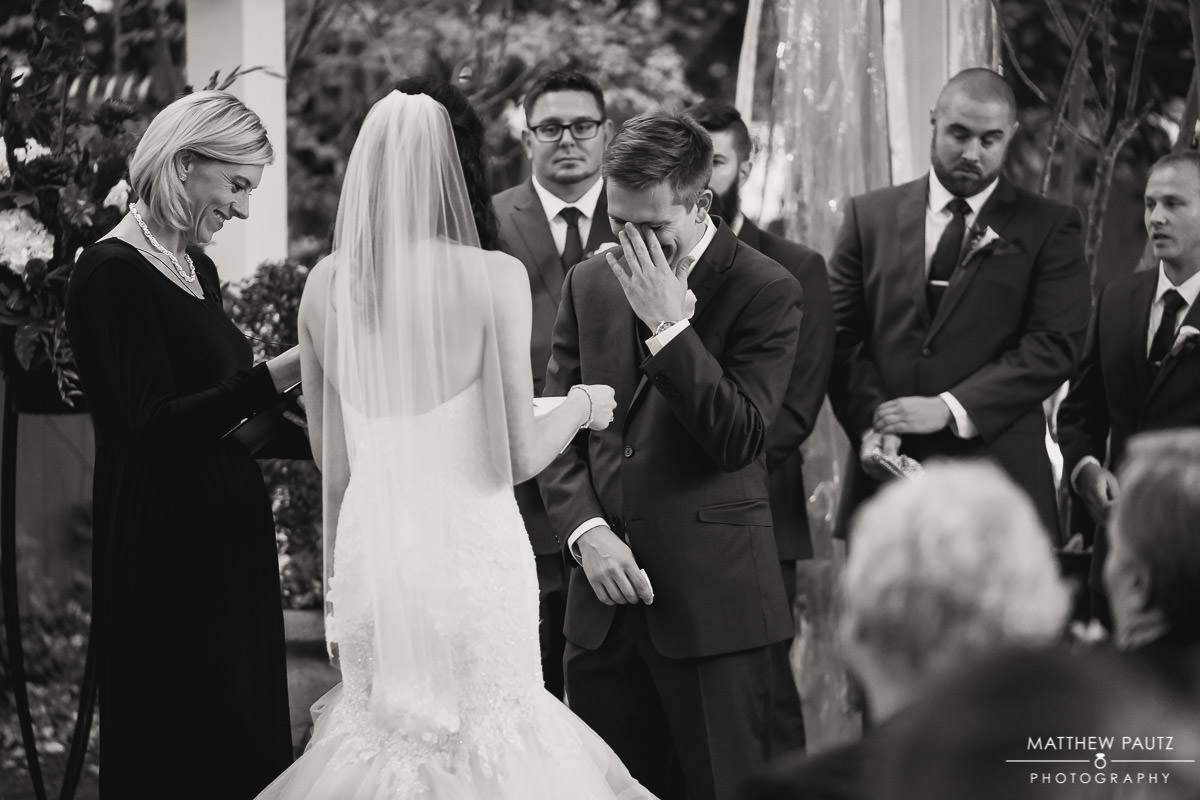 groom crying at wedding ceremony at twigs tempietto