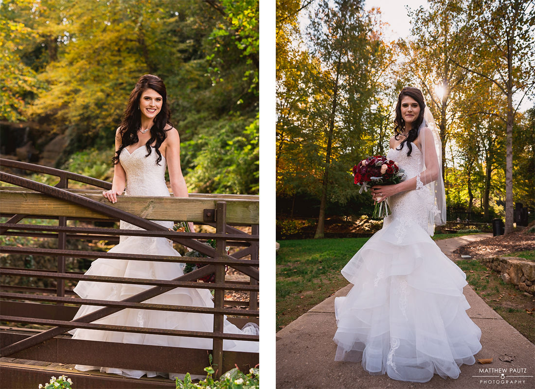 bridal portraits in Falls Park, downtown greenville sc