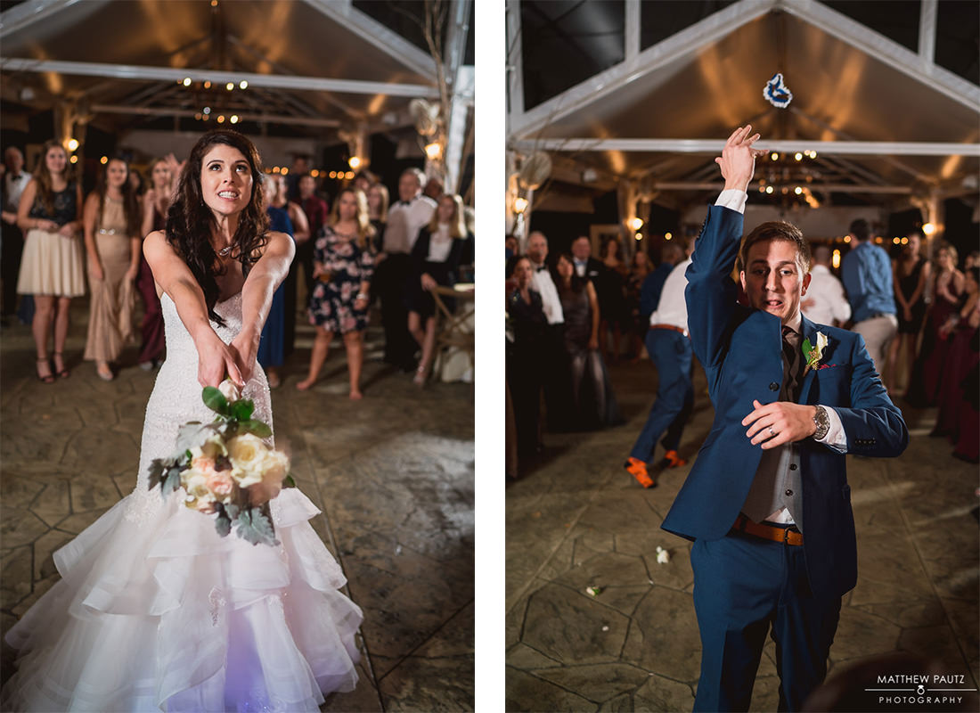 Twigs tempietto garter and bouquet toss at reception