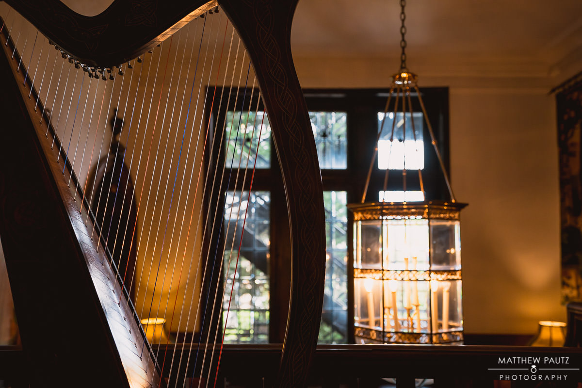 Harp and decorations at The Gassaway mansion