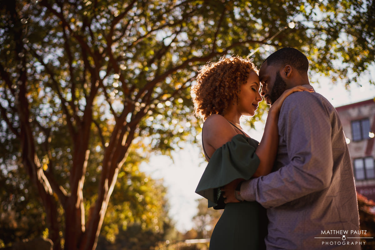 Downtown Greenville Engagement photos in Falls Park