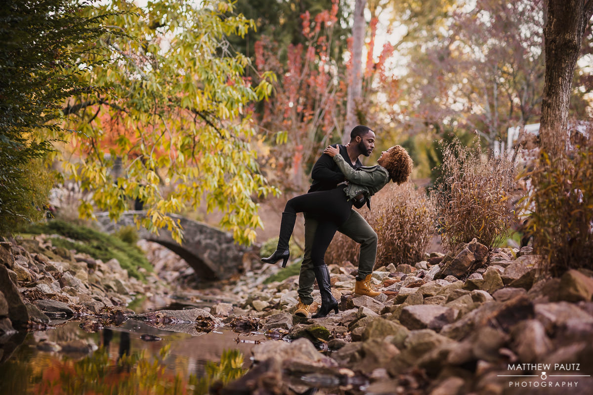 Fall engagement photos at The Rock Quarry Garden