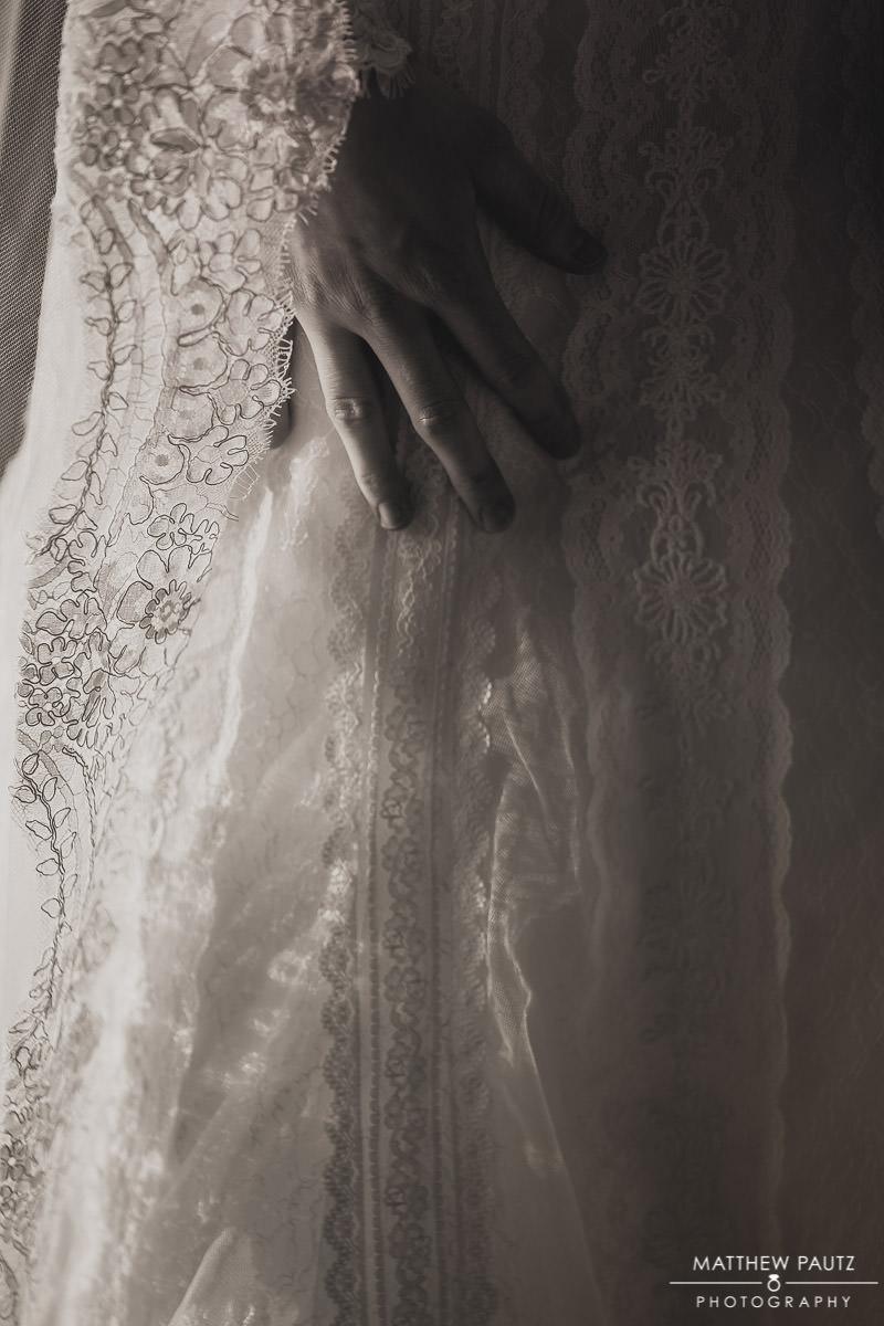 closeup of wedding dress details