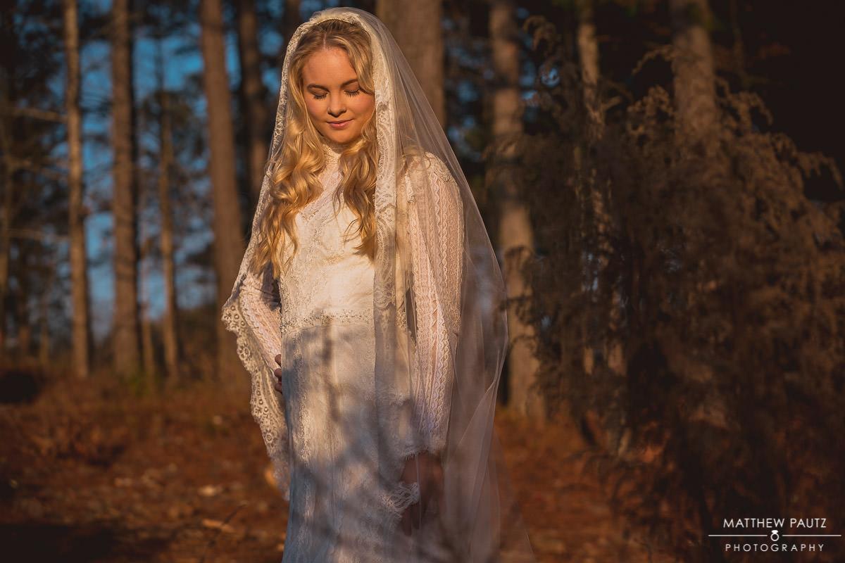 sunset bridal photo shoot