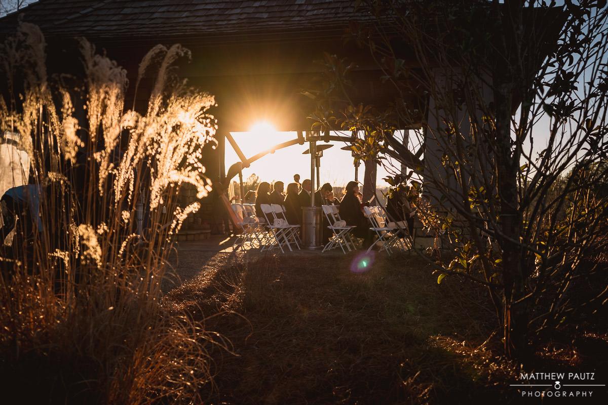 Winter sunset wedding photos