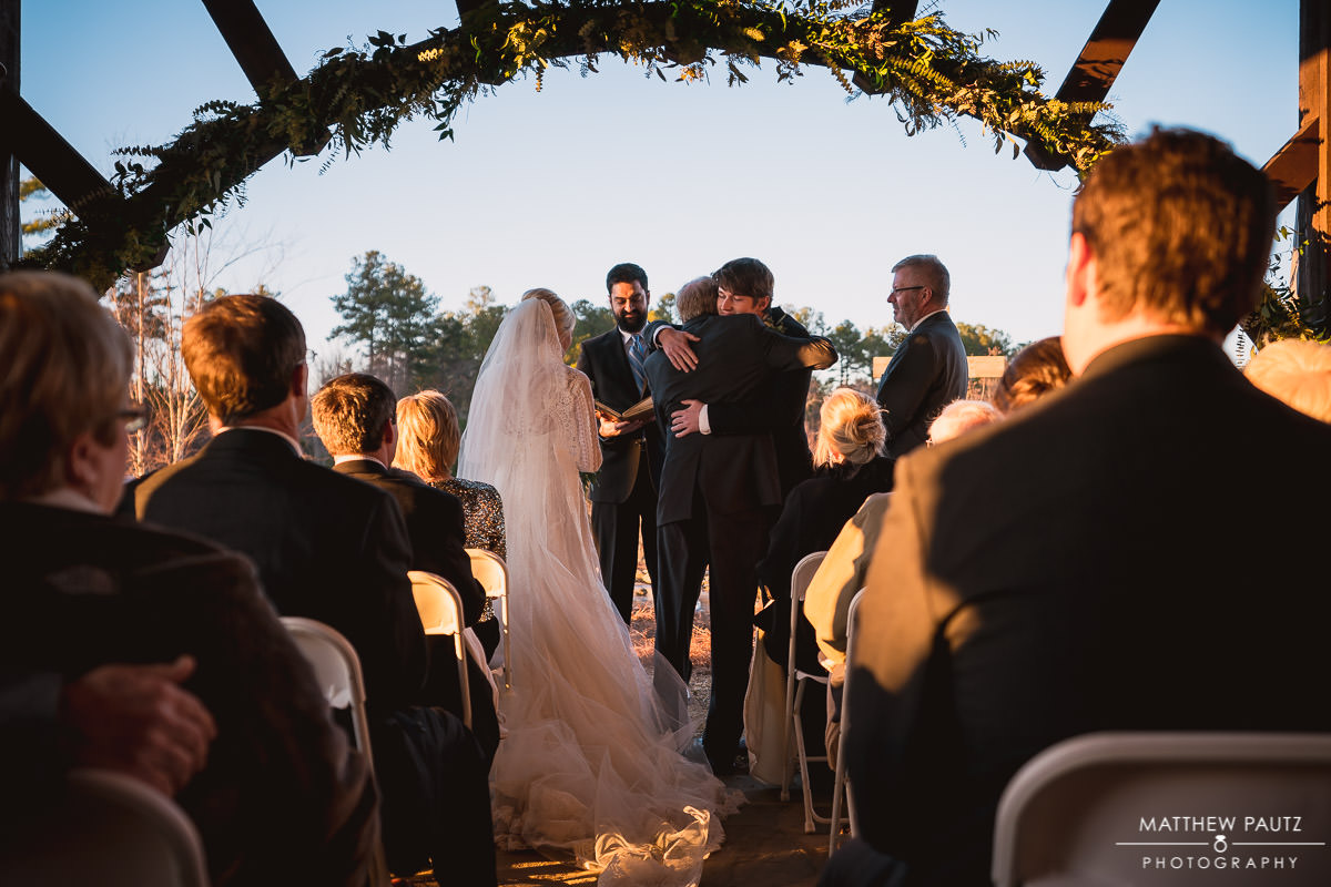 sunset wedding ceremony at The Cliffs at Keowee Falls