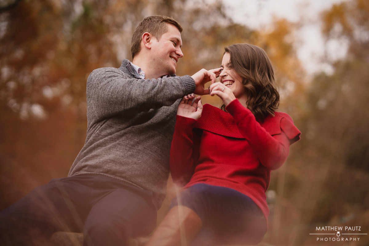 Goof couple engagement photos