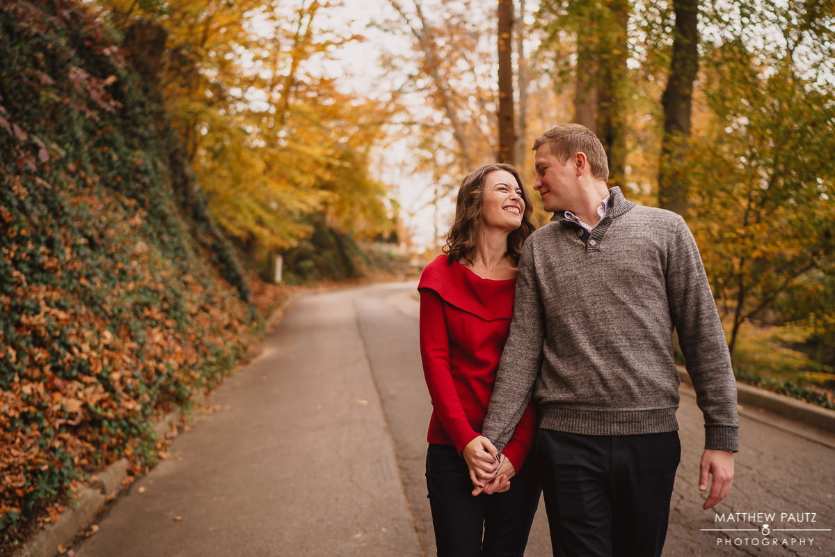 Couple's engagement photo showing Fall colors in Greenville SC