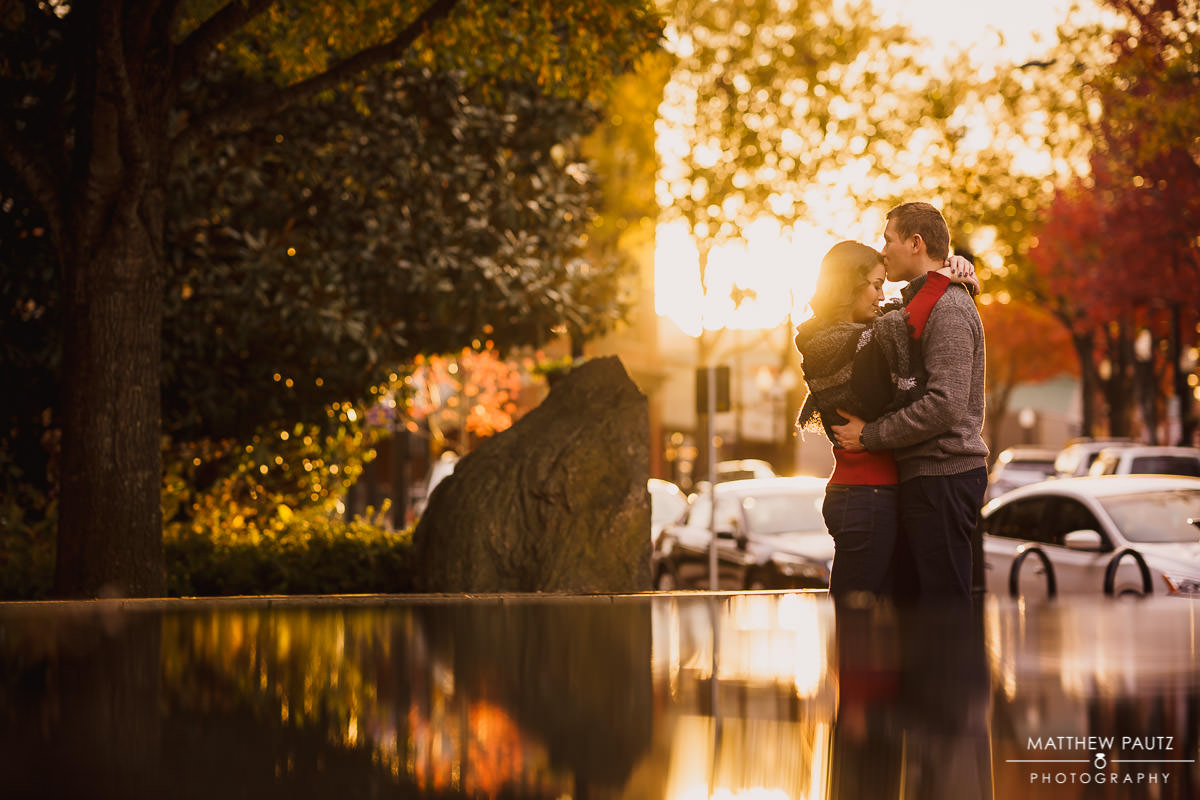 Sunset engagement photos at Falls Park, Greenville SC
