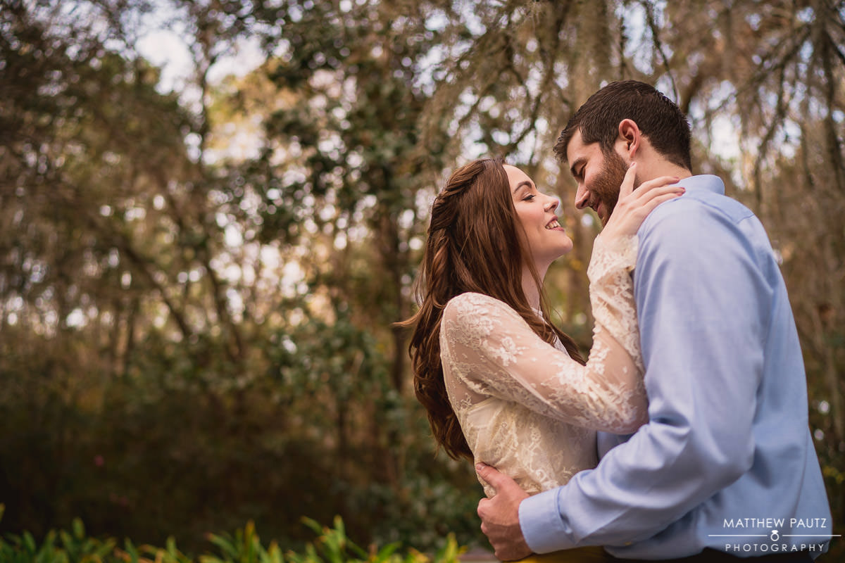 engaged couple at magnolia plantation