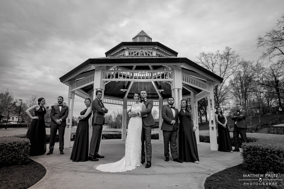 Wedding party photo in Greer City Park