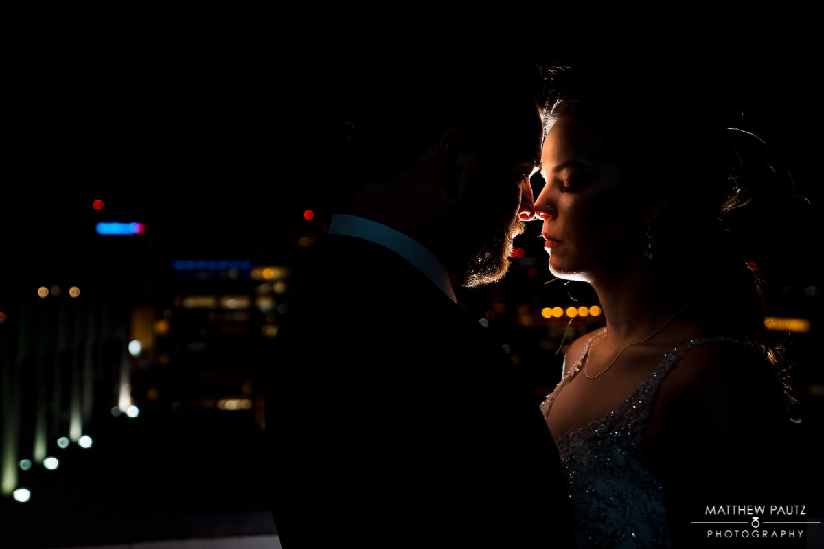 downtown greenville wedding photos at night