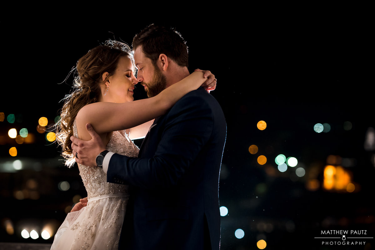 night rooftop wedding photos